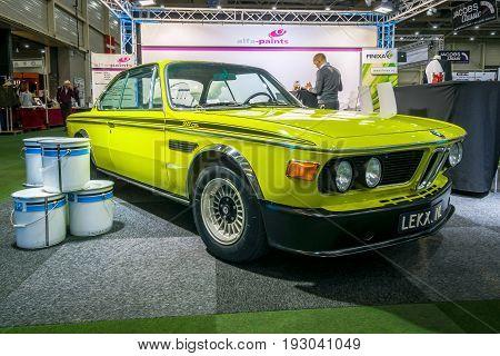 MAASTRICHT NETHERLANDS - JANUARY 15 2016: Grand tourer coupe BMW 3.0 CSL. International Exhibition InterClassics & Topmobiel 2016