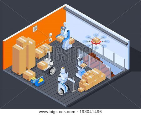 Robot isometric professions composition of warehouse interior and robotic stock workers carrying pasteboard boxes with drone vector illustration