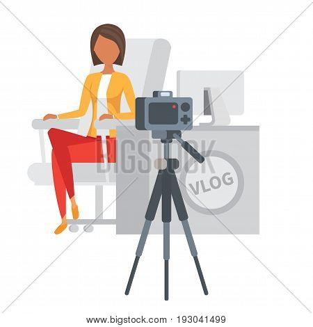 Video blogger making stream. Woman Vlogger talking about beauty on camera. Vlog vector illustration