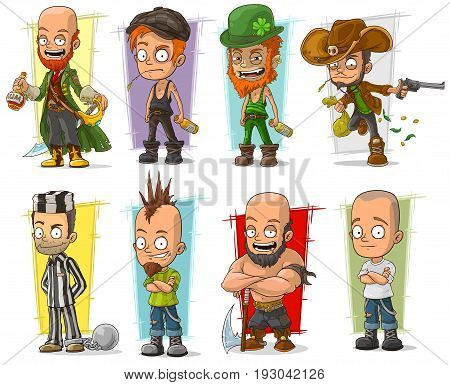 Cartoon cool funny different characters big vector set. Vol 5