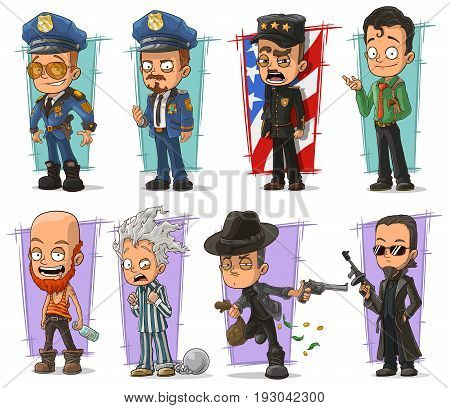 Cartoon cool policeman in uniform and gangsters character vector set. Vol 1