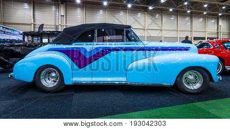 MAASTRICHT NETHERLANDS - JANUARY 15 2016: Vintage car Chevrolet Hot Rod 1947. International Exhibition InterClassics & Topmobiel 2016