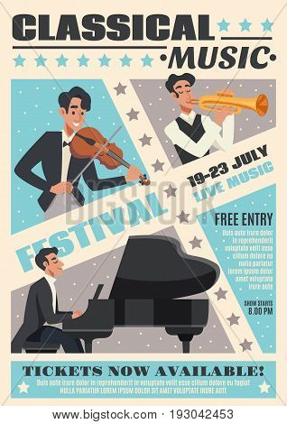 Colored music cartoon poster with classical music festival headline and description about event vector illustration