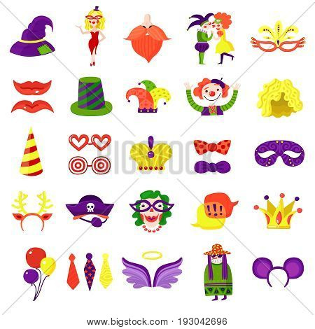 Mardi gras carnival accessories big colorful icons set with balloons eye masks funny hats isolated vector illustration