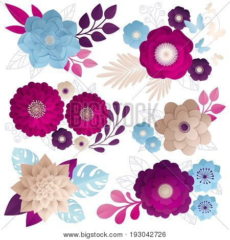 Paper flowers compositions set in fuchsia magenta deep purple and blue beige on white background vector illustration