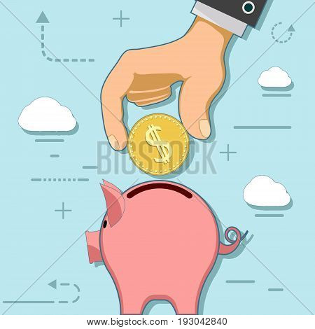 Human hand with coin and piggy bank. Investments and savings. Stock vector flat line infographic illustration.