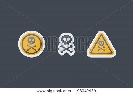 Poison sign vector flat icons set Flat design of danger alert or hazard stickers isolated on the dark background isolated cute vector illustration
