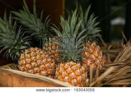 Pineapple background Pineapple in wood box Pineapple Thai