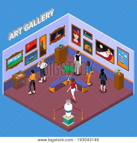 Art gallery with paintings, exhibits on pedestals, benches for visitors on blue background isometric vector illustration