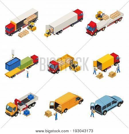 Truck isometric set with images of vehicular loading goods and containers into commercial cargo freight vehicles vector illustration