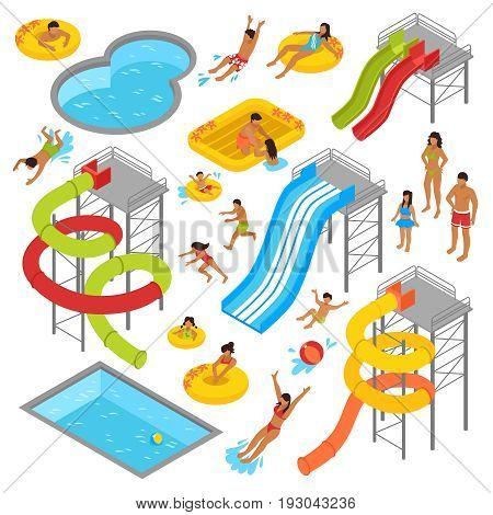 Aqua park isometric icons set with people in swimsuits resting swimming sunbathing and waterpark construction isolated vector illustration