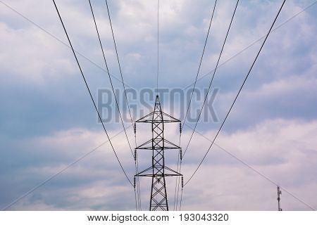 telecommunication mast TV antennas wireless technology under blue sky with cloud