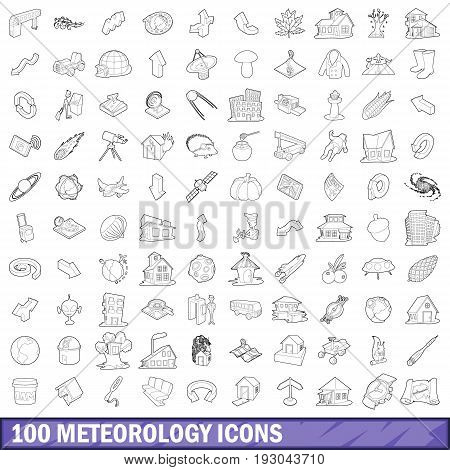 100 meteorology icons set in outline style for any design vector illustration