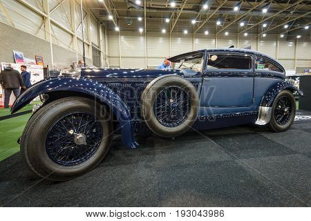 MAASTRICHT NETHERLANDS - JANUARY 15 2016: Vintage car Bentley Special Blue Train (built on the chassis Bentley Mark VI) 1951. International Exhibition InterClassics & Topmobiel 2016