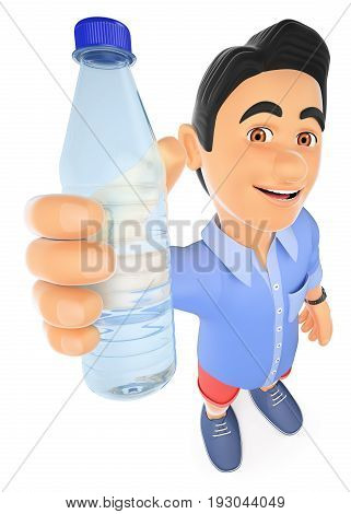 3d young people illustration. Young man in shorts with a bottle of water. Isolated white background.