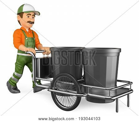 3d working people illustration. Street sweeper working with his garbage trolley. Isolated white background.