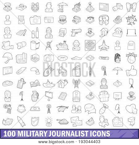 100 military journalist icons set in outline style for any design vector illustration