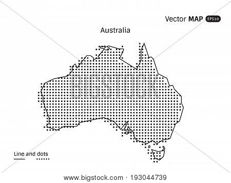 Vector Dotted Australia Map isolated on white background