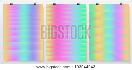 Poster backgrounds set. Abstract layouts collection. Cover or banner design. Posters on binder clips mockup. Business backdrops design. Holographic backgrounds.