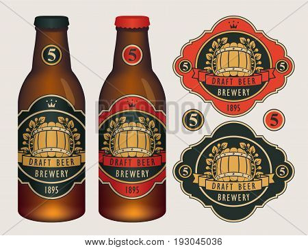 Vector beer labels with barrel laurel wreath ribbon and crown in retro style on a red and black background. Two template labels for draft beer and neck labels on glass bottles with caps.