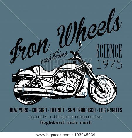 Motorcycle Creative Poster with bike and words iron wheels on grey background vector illustration