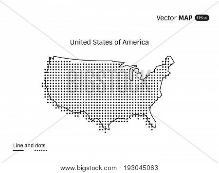Vector Dotted USA Map isolated on white background