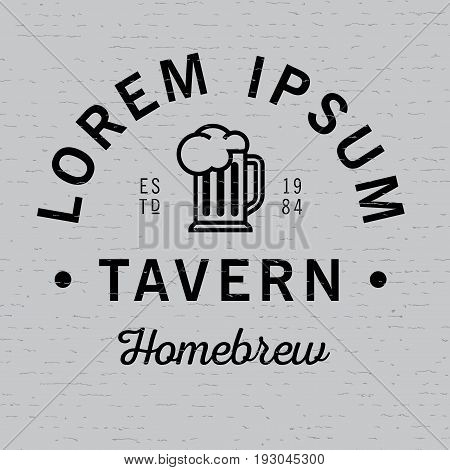 Lorem Ipsum Tavern Homebrew Poster with glass of beer vector illustration