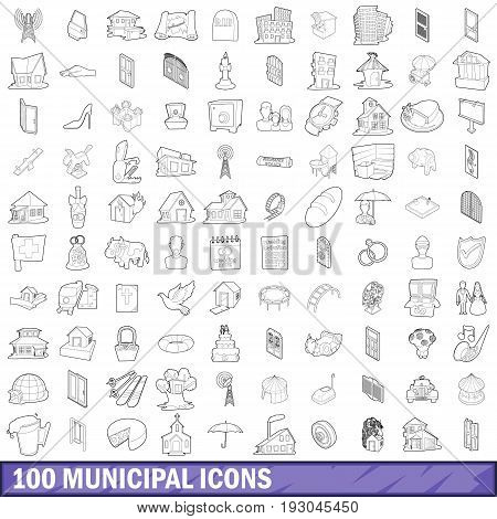 100 municipal icons set in outline style for any design vector illustration