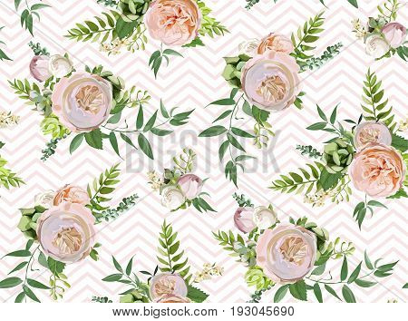 Vector floral summer seamless pattern: bouquets of Pink white garden rose green succulent cactus flowers seasonal plants greenery Elegant watercolor design for wedding paper background and textile art