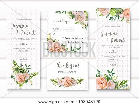 Wedding invitation floral invite card with pink garden rose green succulent cactus flowers seasonal plants mix romantic Templates. Vector anniversary collection. Elegant cute design isolated white.