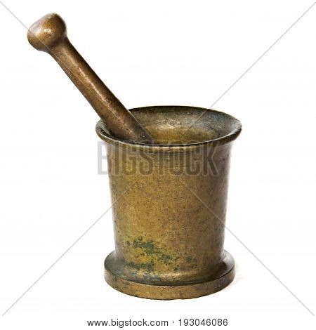 Metal Copper Mortar And Pestle Isolated On White. Background. Pestle In A Mortar, Plaque On The Meta