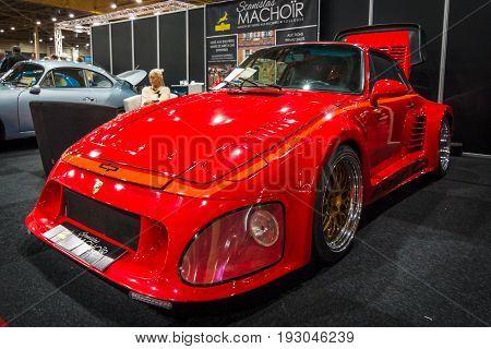 MAASTRICHT NETHERLANDS - JANUARY 15 2016: Sports car Porsche 935 II DP Motorsport 1984. International Exhibition InterClassics & Topmobiel 2016