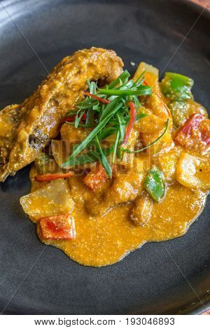 Gourmet spice curry rock lobster with salted egg
