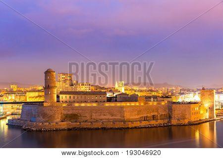 Marseille Saint Jean Castle and Cathedral de la Major and the Vieux port in France