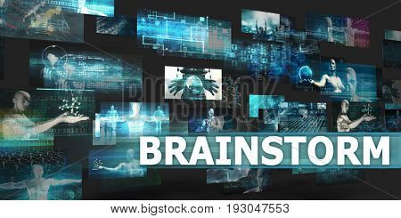 Brainstorm Presentation Background with Technology Abstract Art 3D Illustration Render