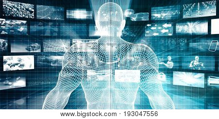 Data Center with System Administrator Navigating Data 3D Illustration Render