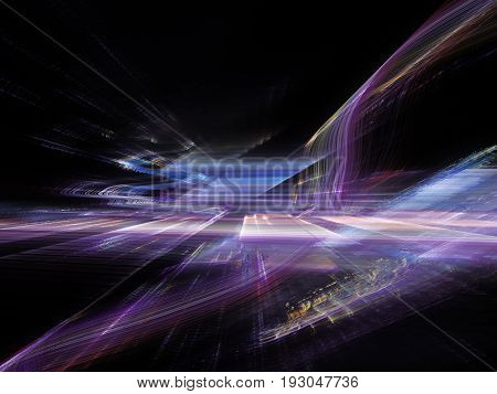 Abstract background element. Fractal graphics. Three-dimensional composition of glowing artifacts. Glitch aesthetics.