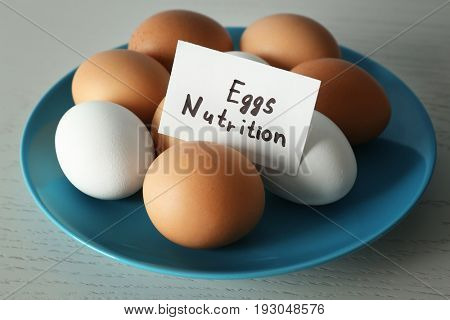 Paper sheet with text and eggs on plate