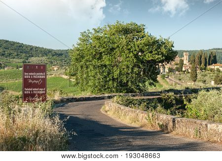 The access road to the historic abbey of San Michele Arcangelo Passignano located in the homonymous protected natural area