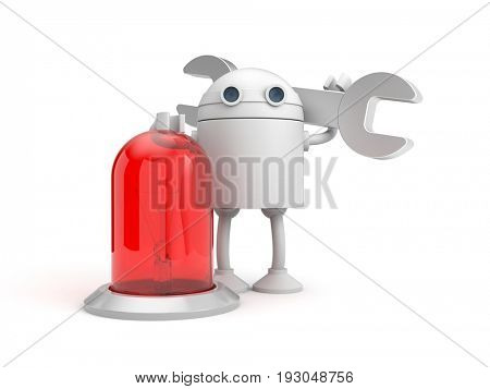 Robot mechanic with red lamp. 3d illustration