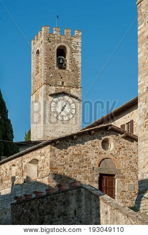 The clock tower of the historic abbey of San Michele Arcangelo Passignano in the comune Tavarnelle Val di Pesa Province of Florence Italy