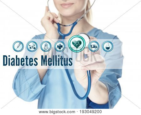 Health care concept. Doctor with stethoscope and text DIABETES MELLITUS on white background