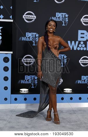 LOS ANGELES - JUN 25:  Justine Skye at the BET Awards 2017 at the Microsoft Theater on June 25, 2017 in Los Angeles, CA