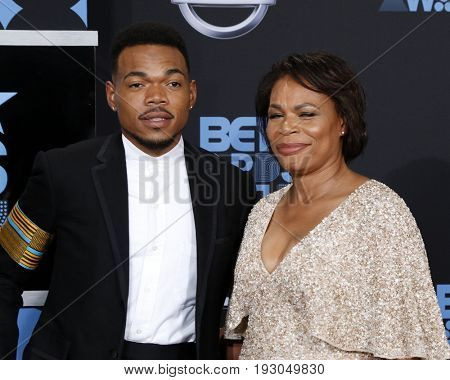 LOS ANGELES - JUN 25:  Chance the Rappe, Lisa Bennett at the BET Awards 2017 at the Microsoft Theater on June 25, 2017 in Los Angeles, CA