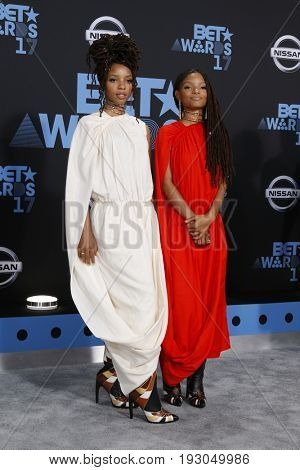 LOS ANGELES - JUN 25:  Halle Bailey, Chloe Bailey at the BET Awards 2017 at the Microsoft Theater on June 25, 2017 in Los Angeles, CA