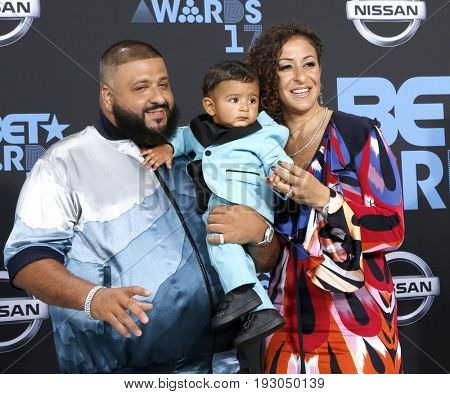 LOS ANGELES - JUN 25:  DJ Khaled, Asahd Tuck Khaled, Nicole Tuck at the BET Awards 2017 at the Microsoft Theater on June 25, 2017 in Los Angeles, CA