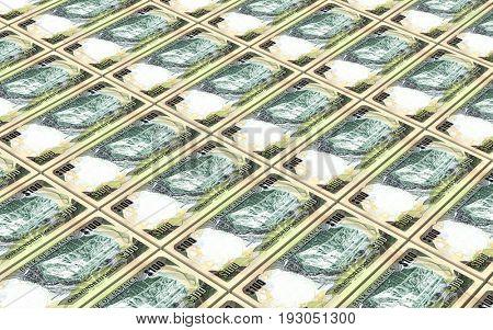 Jamaican dollar bills stacks background. 3D illustration.