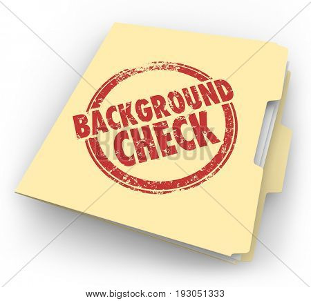 Background Check Folder Information Review Evaluation 3d Illustration