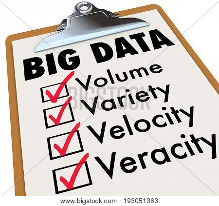 Big Data Checklist Volume Veracity Variety Velocity 3d Illustration