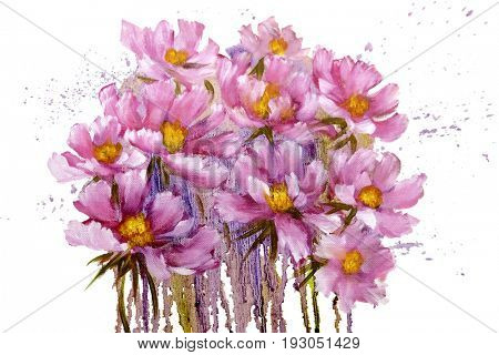 Bouquet of pink cosmos flowers with paint drips. Oil painting on Canvas. Isolated on white background